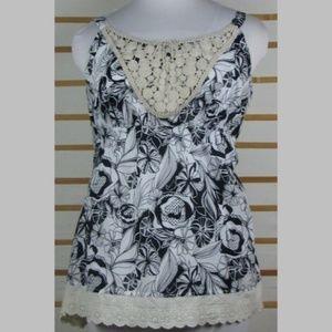 Cotton empire waist floral top lace hem Venezia